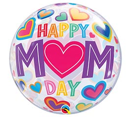 "22"" Packaged Happy Mom Day Bubble Balloon"