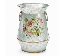 Tin Vase With Rose Design Golden Accents