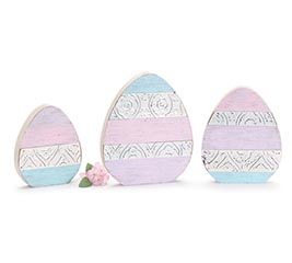 EGG TRIO SHELF SITTER WITH EMBOSSED TIN